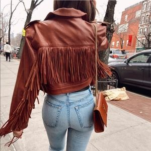 GRLFRND Sadie Leather Fringe Jacket In Brown